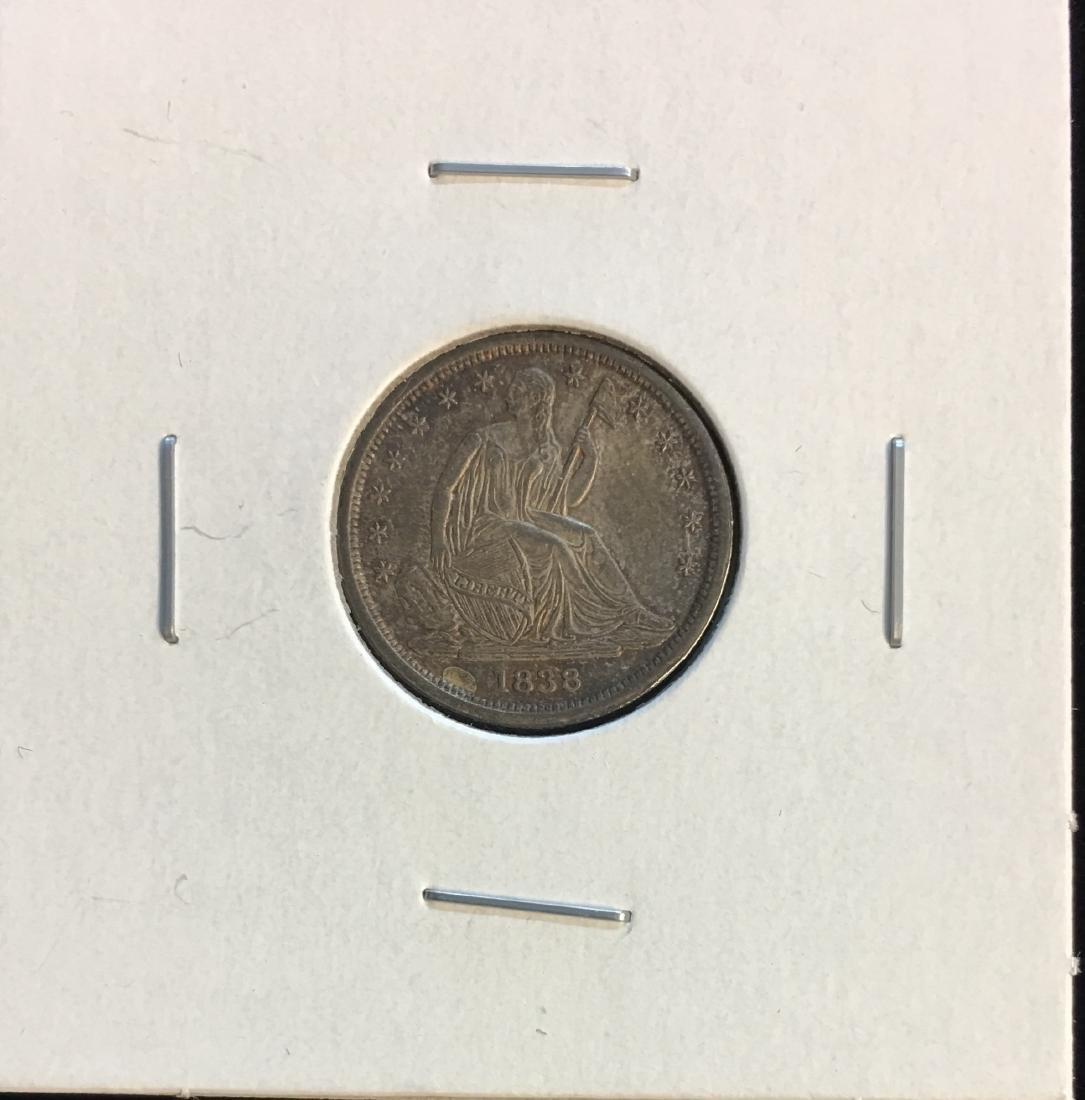1838 10c Seated Silver Dime - Small Stars - AU
