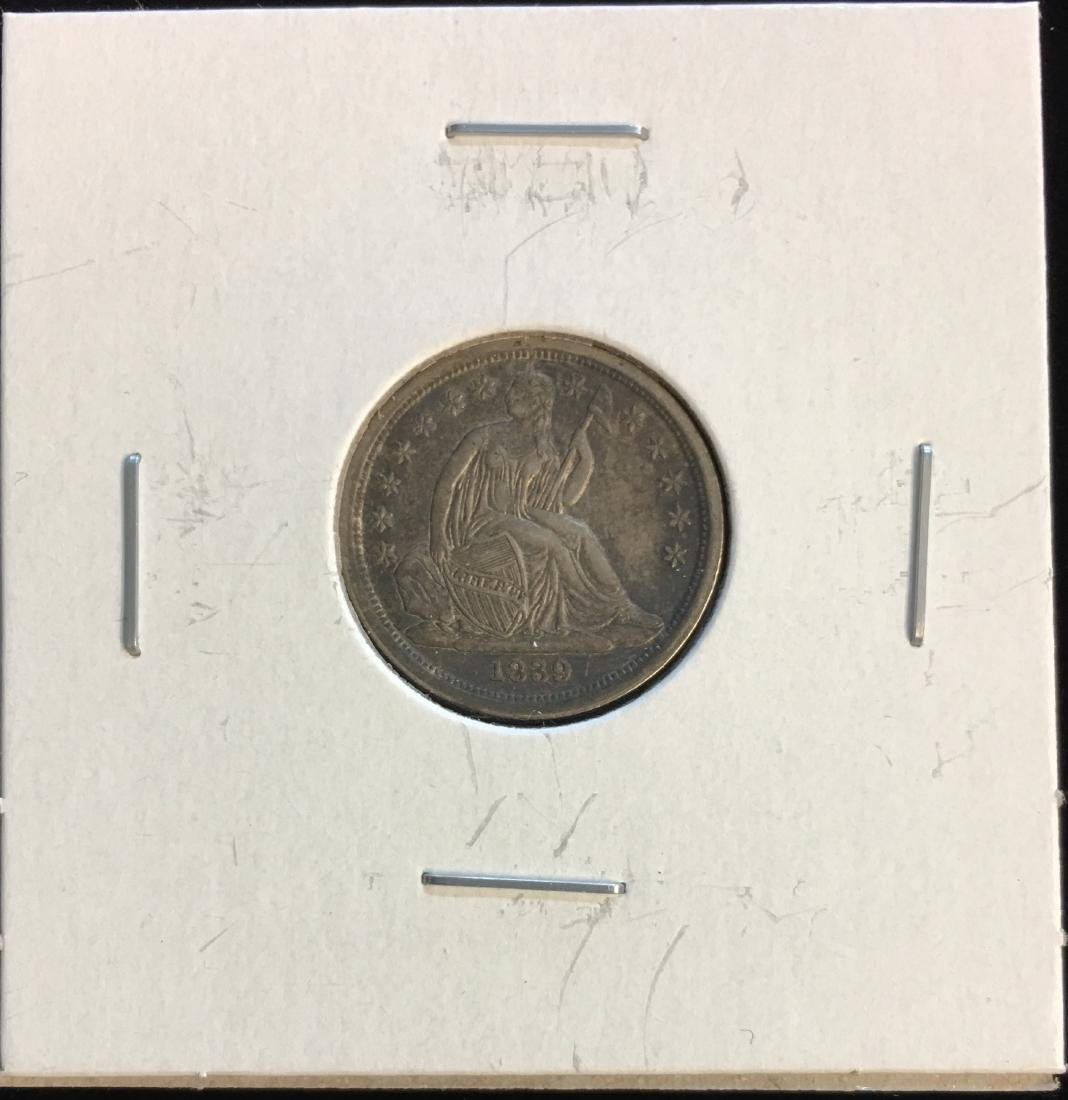 1839 10c Seated Silver Dime - No Drapery  - Very