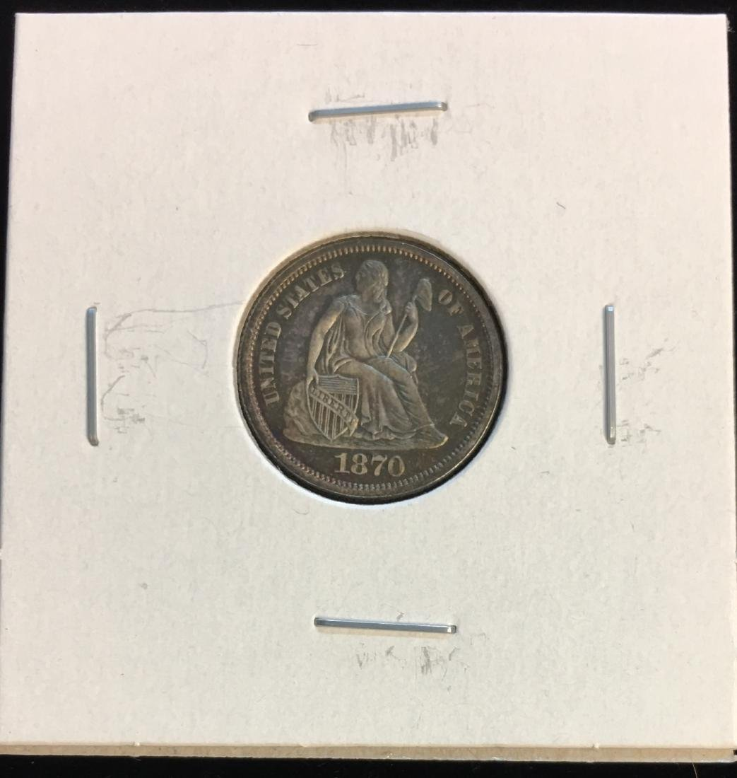 1870 10c Seated Silver Dime - PROOF - Very Beautiful
