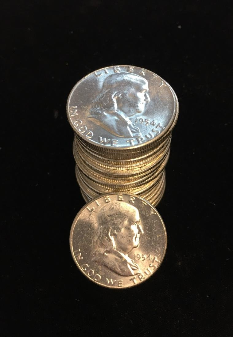 1954 Roll of 20 Franklin Silver Half Dollars GEM BU
