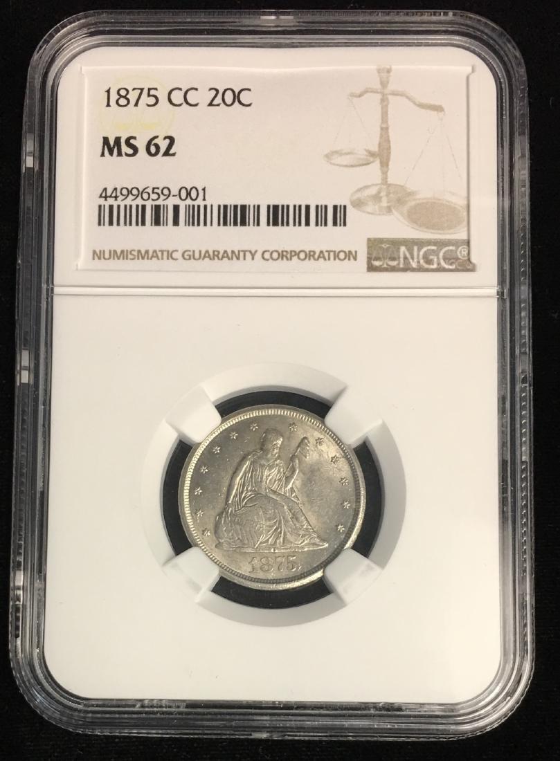 1875-CC 20C Liberty Seated Twenty Cents NGC MS62