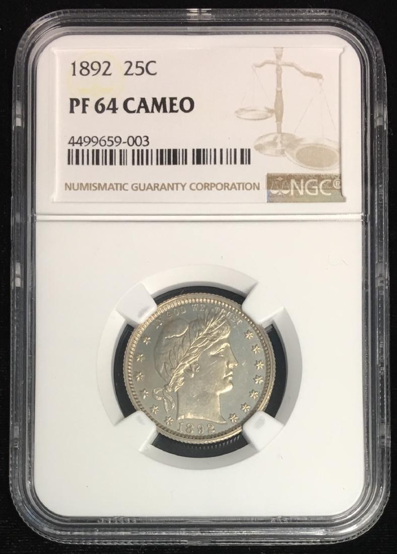 1892 25C Barber Quarter NGC PF64 CAMEO