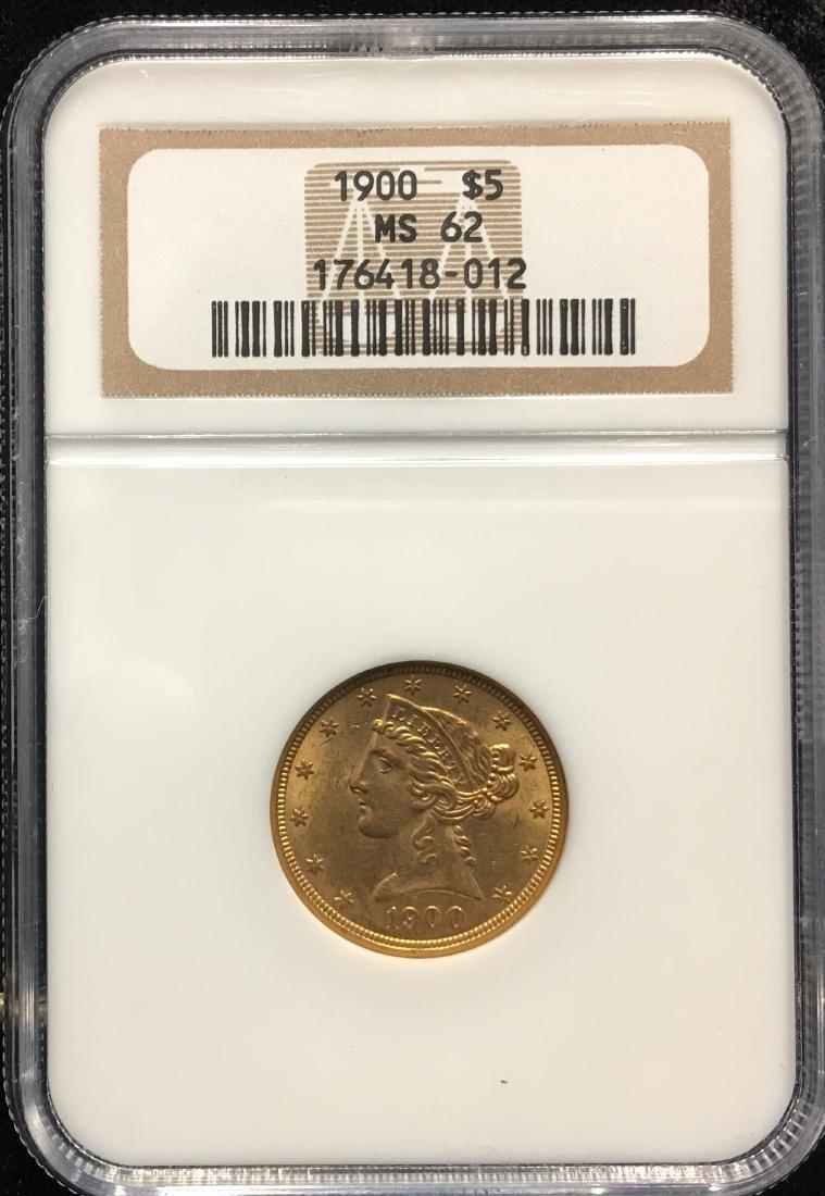1900 $5 Liberty Gold Half Eagle NGC MS62