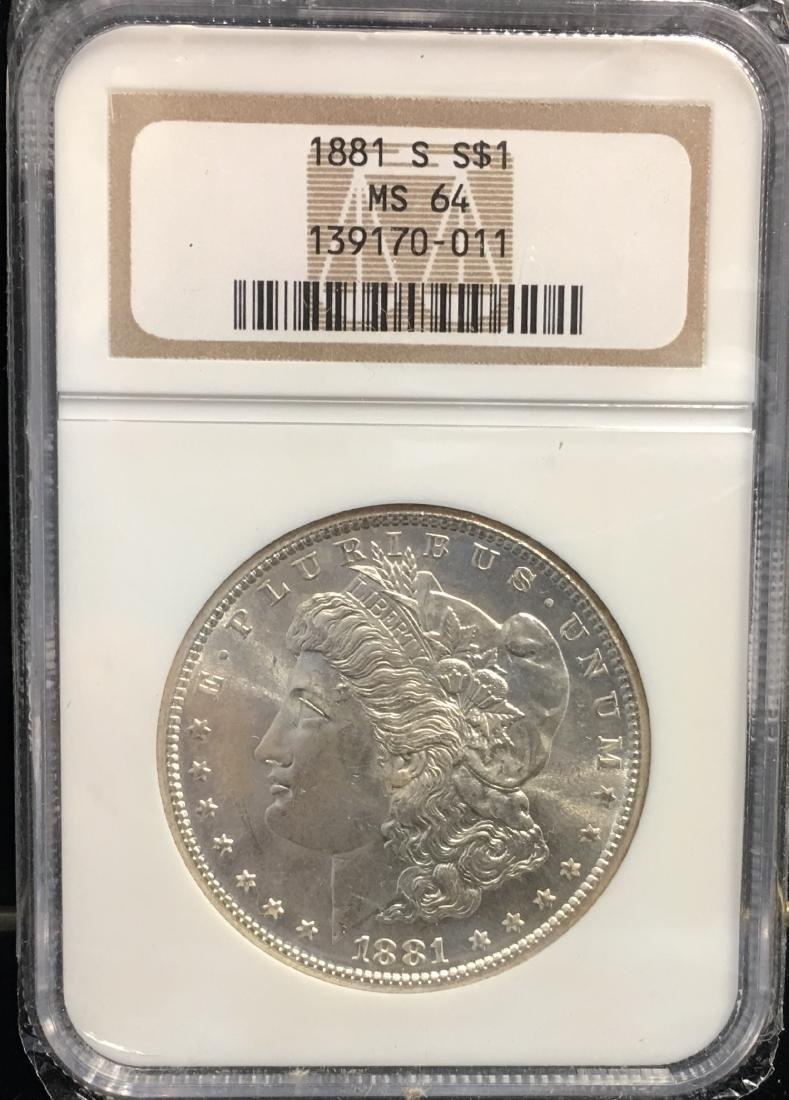 1881-S $1 Morgan Silver Dollar NGC MS64
