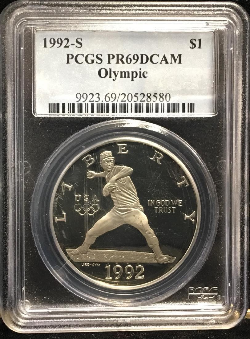 1992-S $1 XXV Olympic Silver Dollar PCGS PR69DCAM