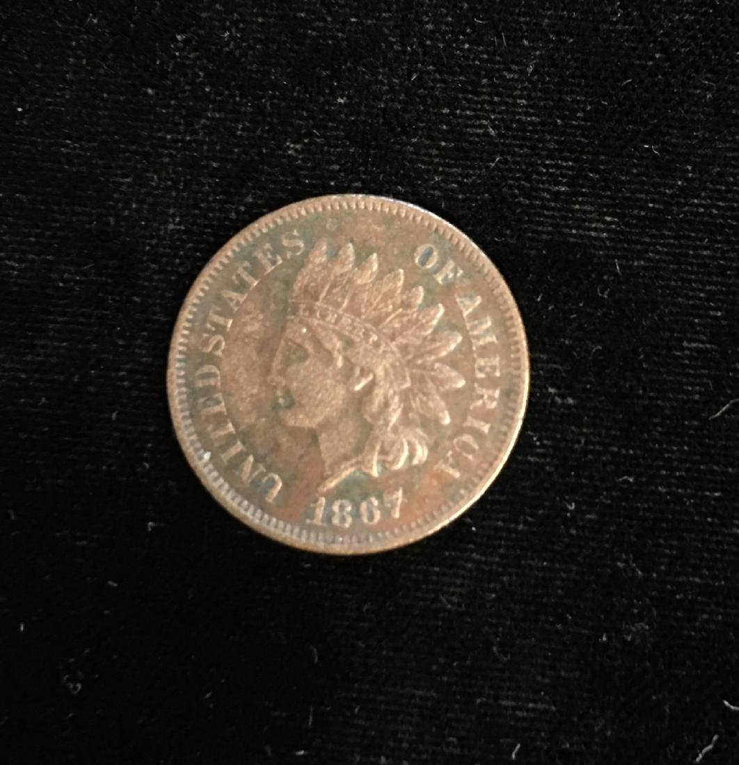 1867 1C Indian Head Cent RB XF