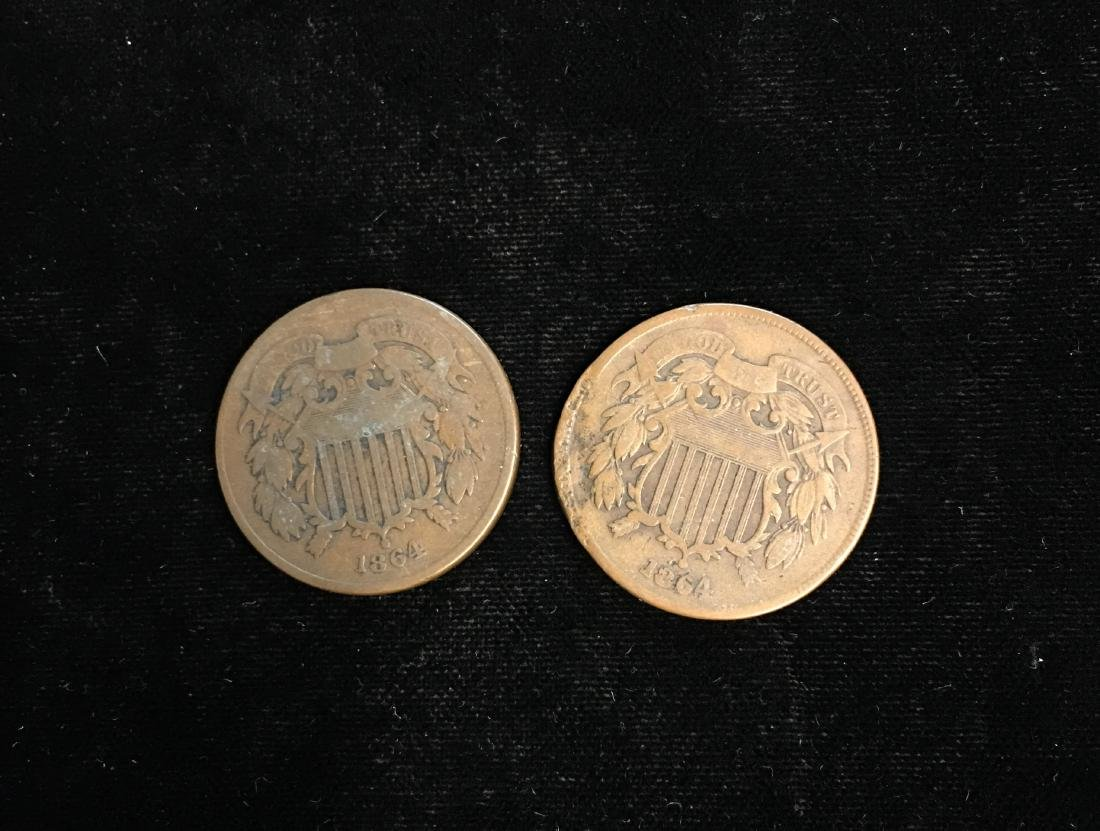 Set of 2 - 1864 2c Two-Cent Pieces Large Motto Good