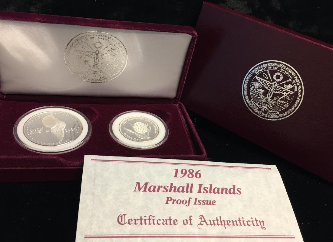 1986 Marshall Islands 2 Silver Coins Set Proof Issue