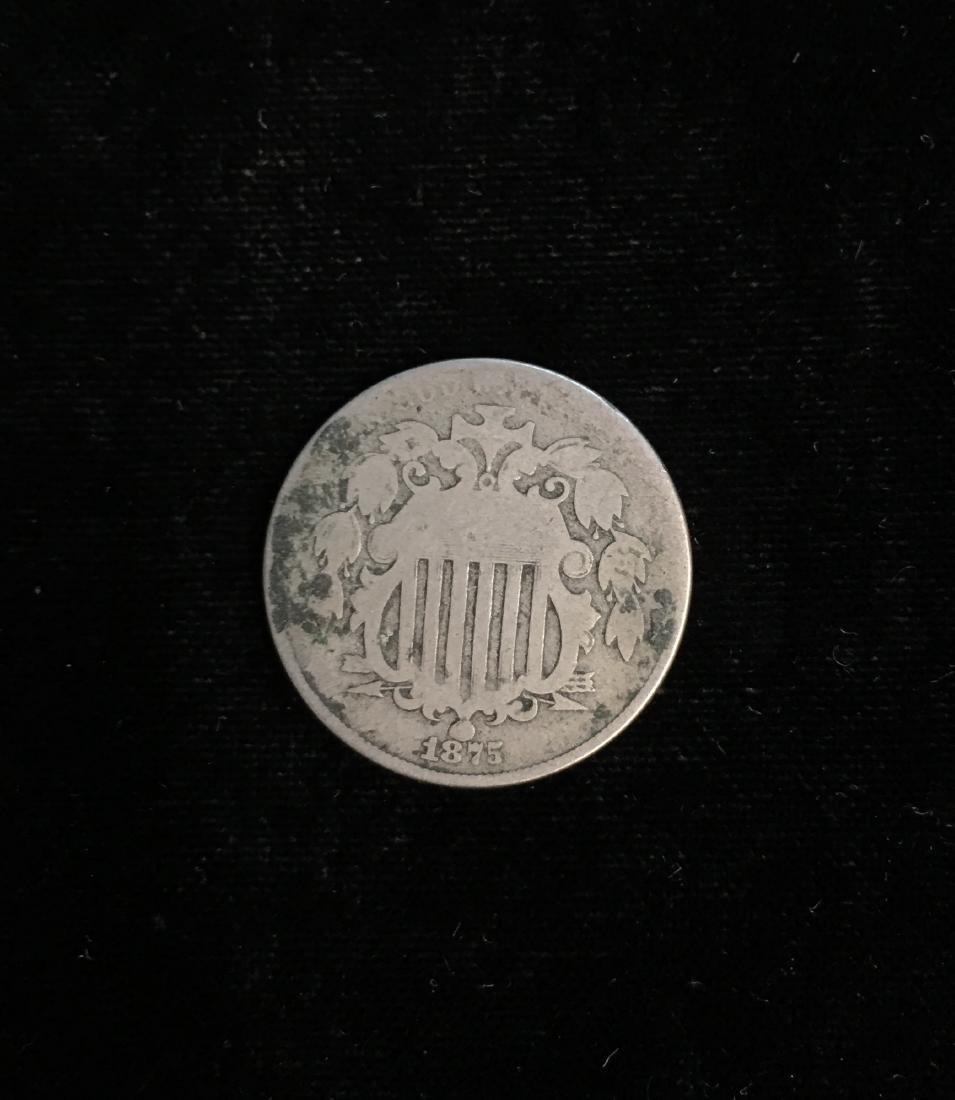 1875 5c Shield Nickel Good