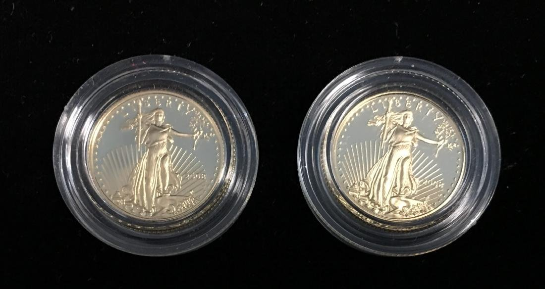 Set of 2 - 2008 $5 American Gold Eagle 1/10 oz Proof