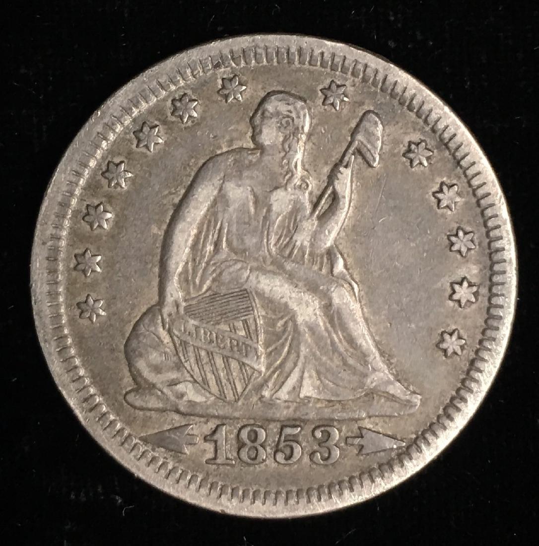 1853 25c  Liberty Seated Quarter Arrows & Rays XF