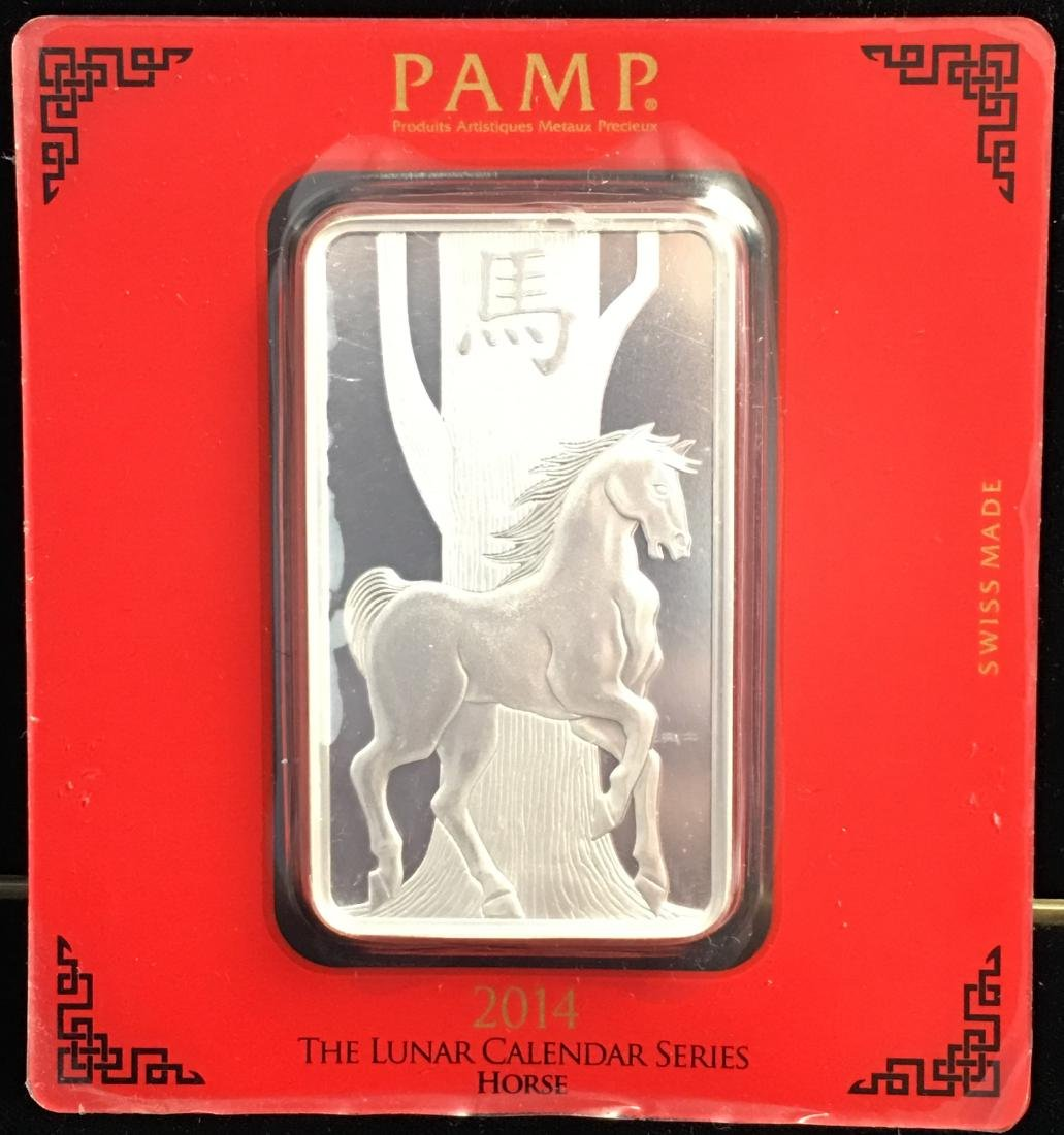 2014 The Lunar Calendar Series Horse 100 g. .999 Silver