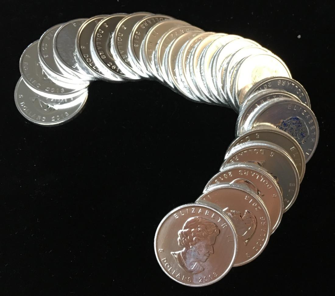 Roll of 25 - 2013 $5 Canada Maple Leaf 1 oz. Fine