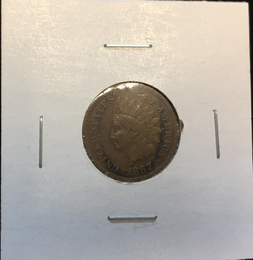 1867 1C Indian Head Cent F+