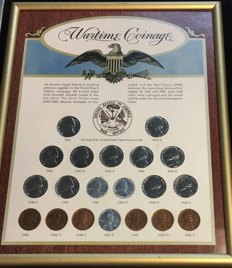 Wartime Coinage in a Frame: Jefferson Nickels & Lincoln - 2