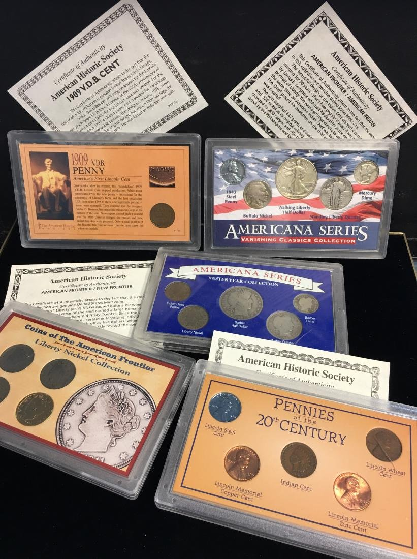 Set of 5 - The American Historic Society - Genuine Coin