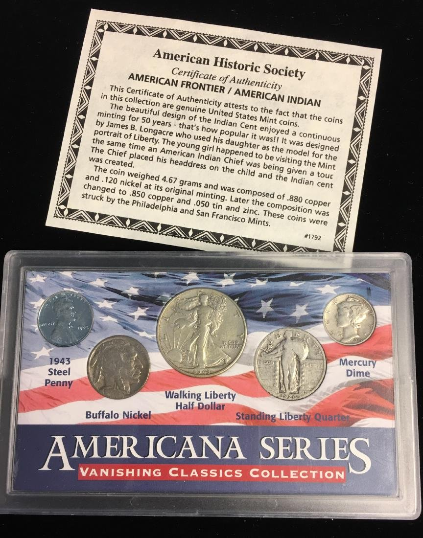 Set of 5 - The American Historic Society - Genuine Coin - 4