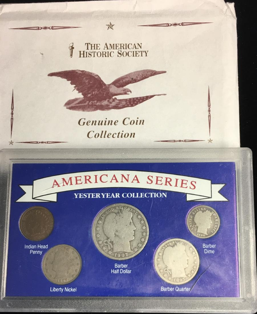 Set of 5 - The American Historic Society - Genuine Coin - 8