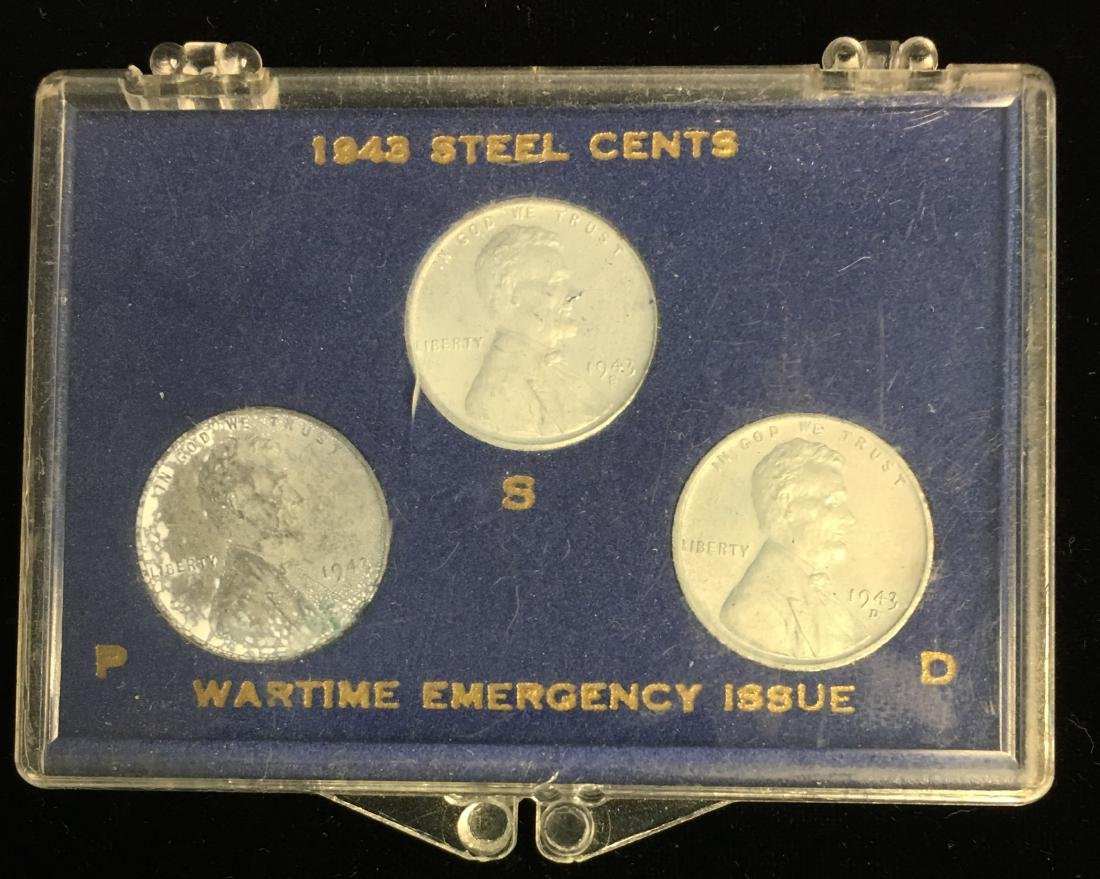 Set of 3 - Pennies Sets: 1943-PDS Steel Cents; 1905 - 4