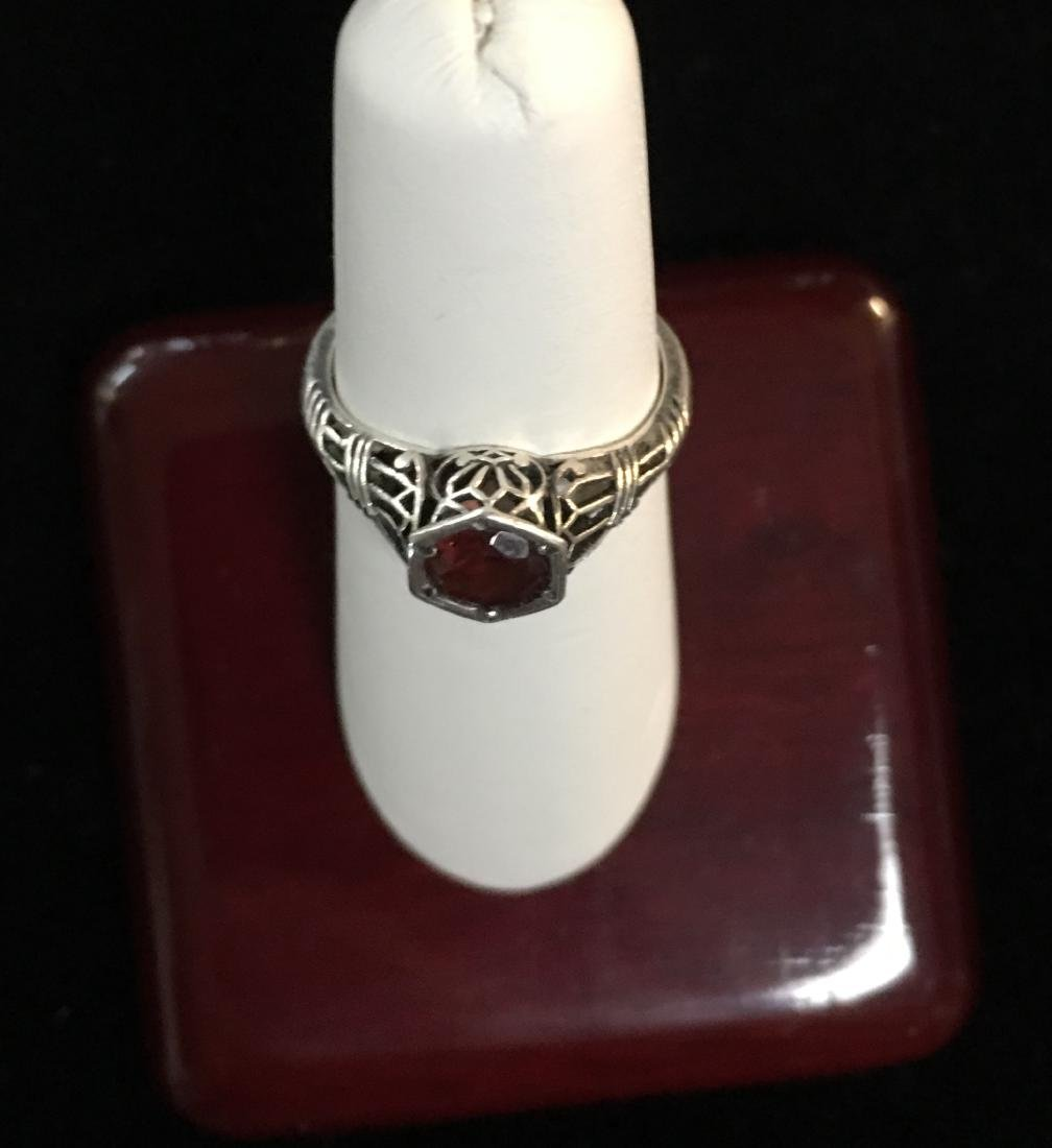 Sterling Silver Lady's Ring w/Red Stone Size 6.5 - 3