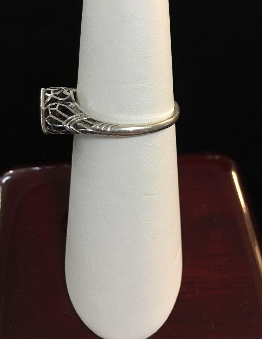 Sterling Silver Lady's Ring w/Red Stone Size 6.5 - 4