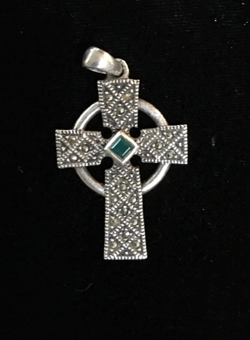 Sterling Silver Cross w/Stones