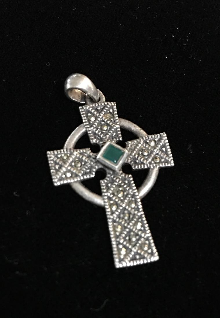 Sterling Silver Cross w/Stones - 2