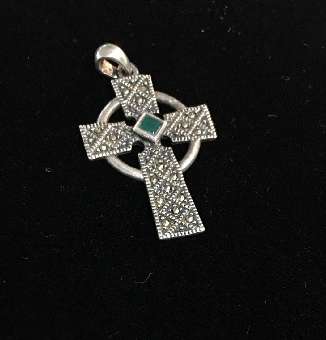 Sterling Silver Cross w/Stones - 3