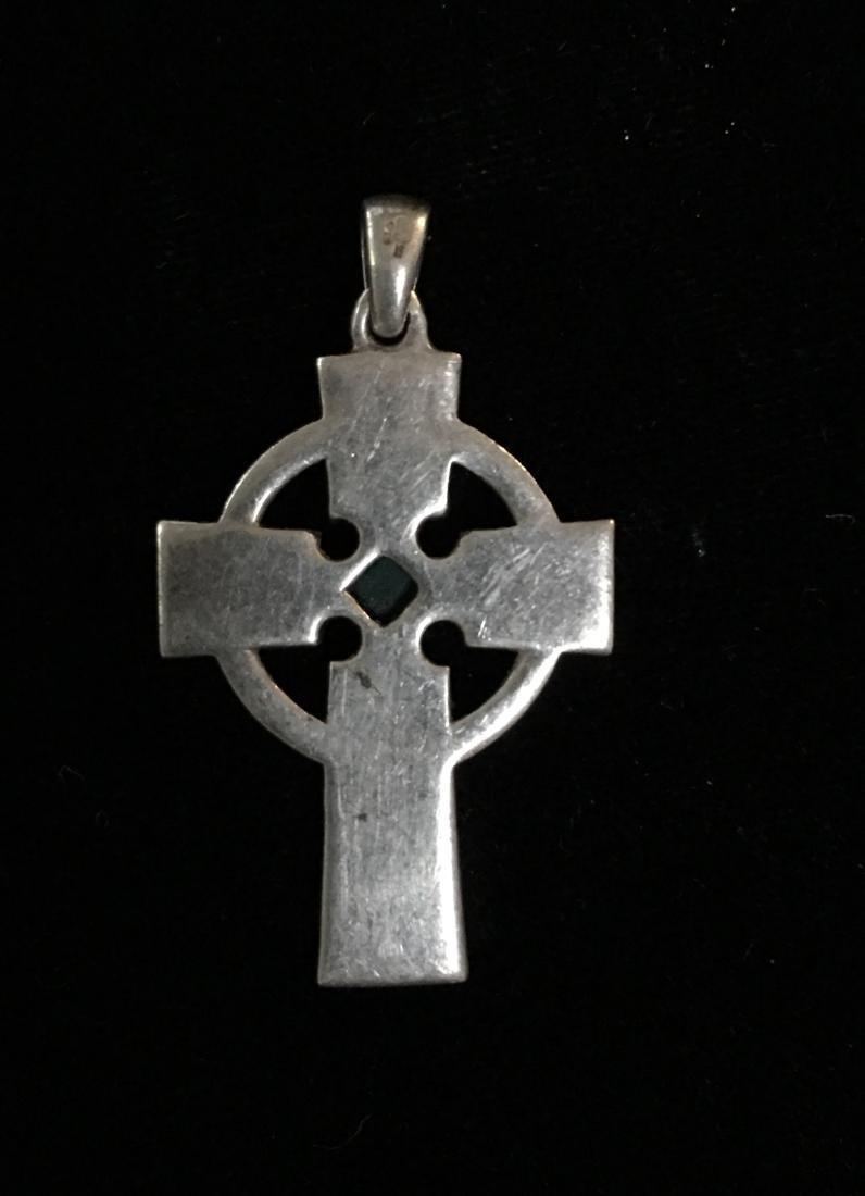 Sterling Silver Cross w/Stones - 4