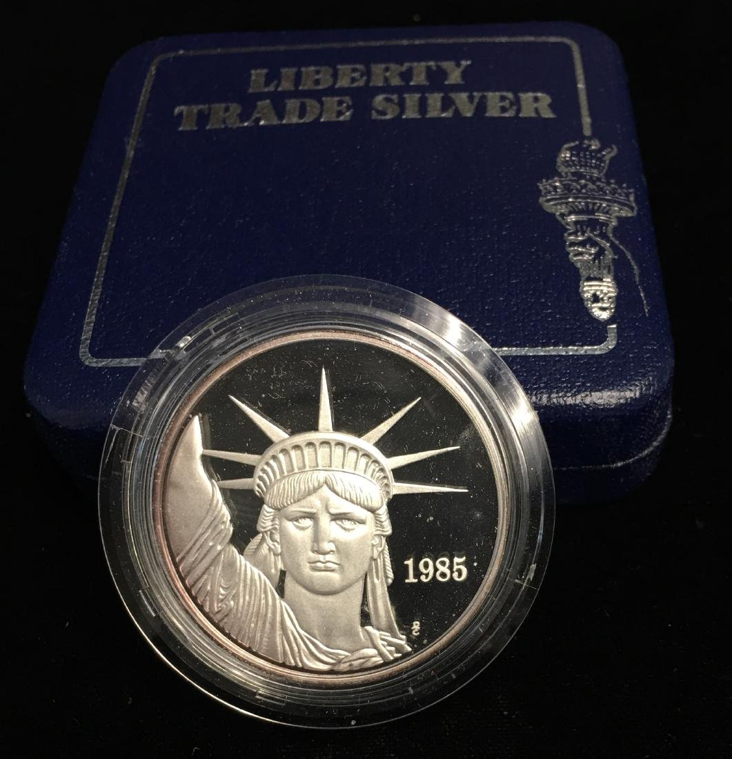 1985 Liberty Trade Silver Round Proof 1 tr oz .999