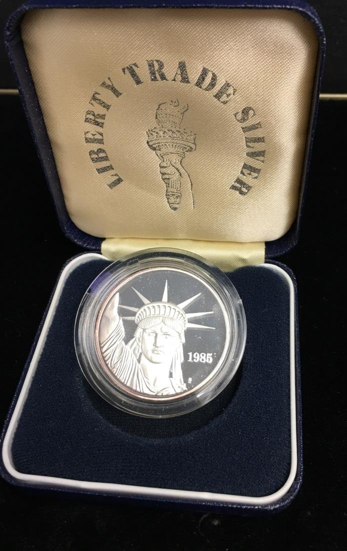 1985 Liberty Trade Silver Round Proof 1 tr oz .999 - 2