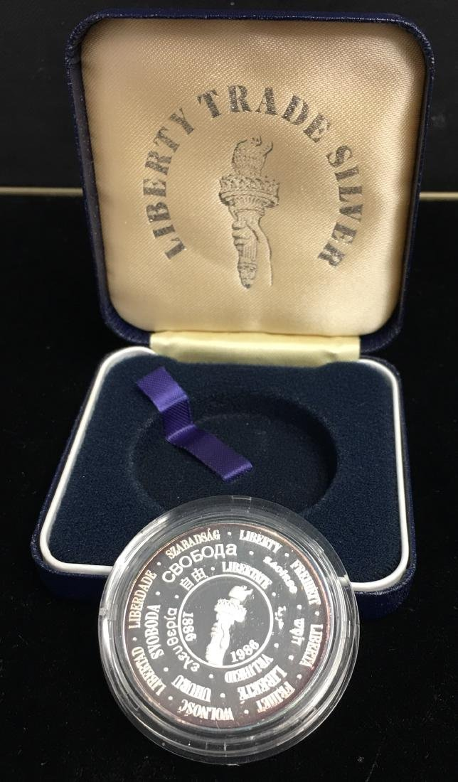 1985 Liberty Trade Silver Round Proof 1 tr oz .999 - 3