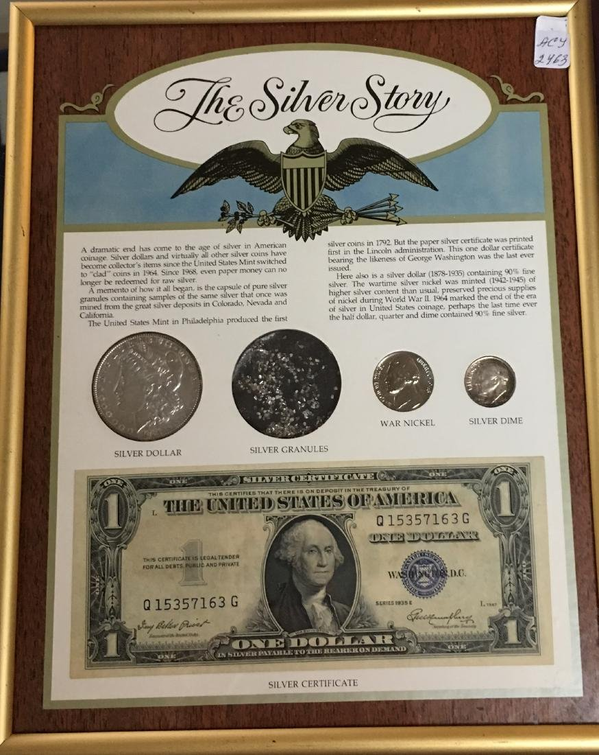 The Silver Story Set in a Frame : 1889 $1 Morgan Silver