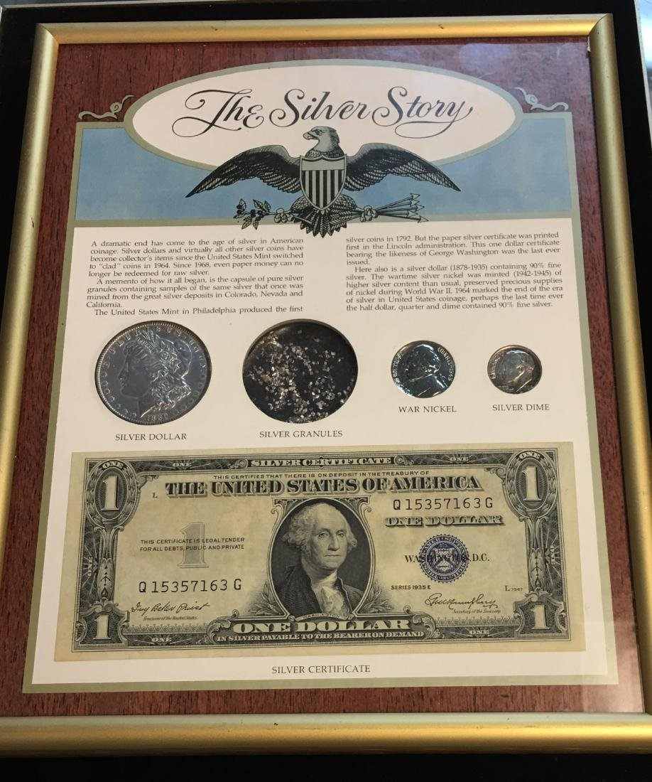 The Silver Story Set in a Frame : 1889 $1 Morgan Silver - 2