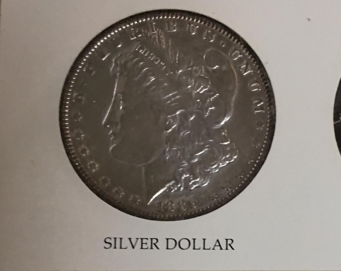 The Silver Story Set in a Frame : 1889 $1 Morgan Silver - 3