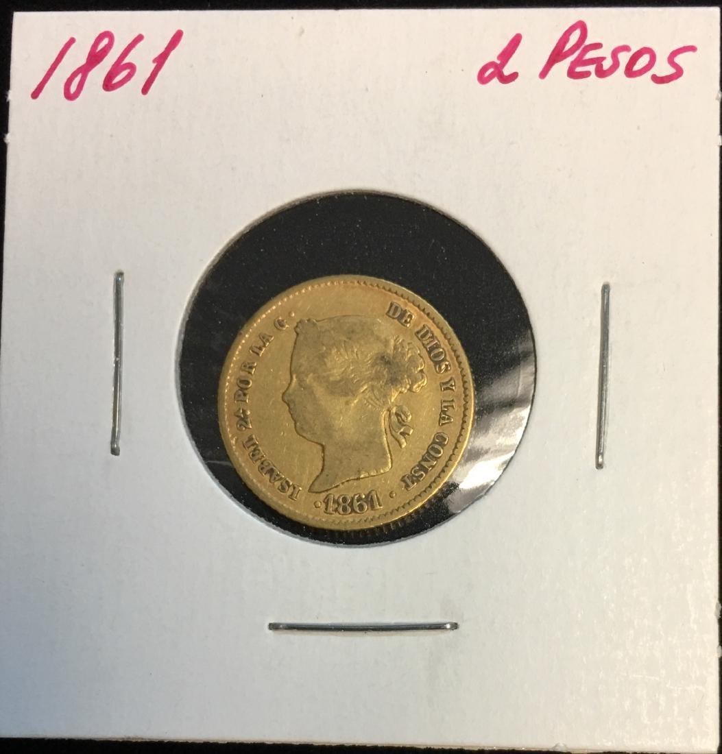 1861 Philippines Gold 2 Pesos - Isabella II KM #143 AGW