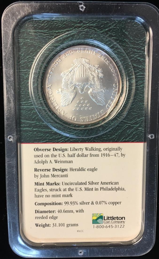 2000 $1 American Silver Eagle 1oz Littleton Coin - 2