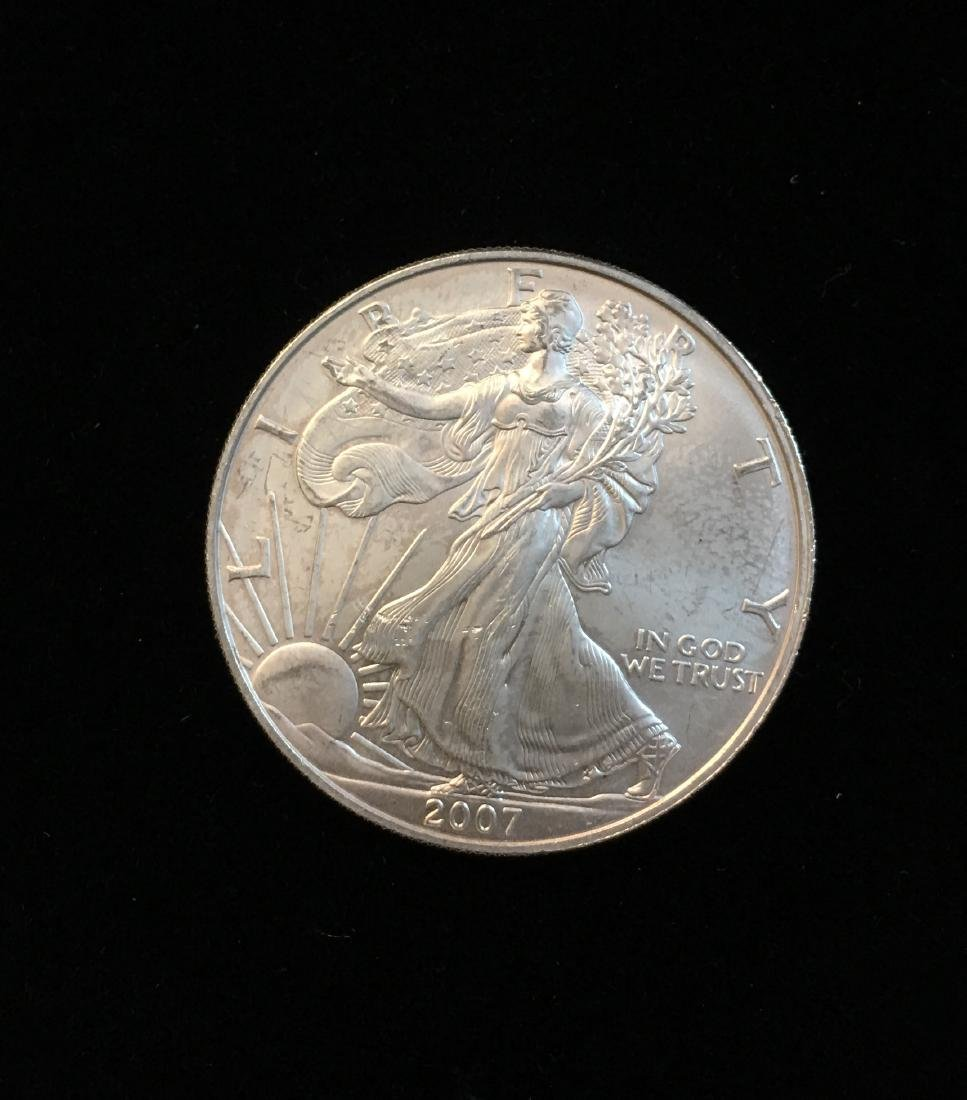 2007-W $1 American Silver Eagle 1oz Fine Silver