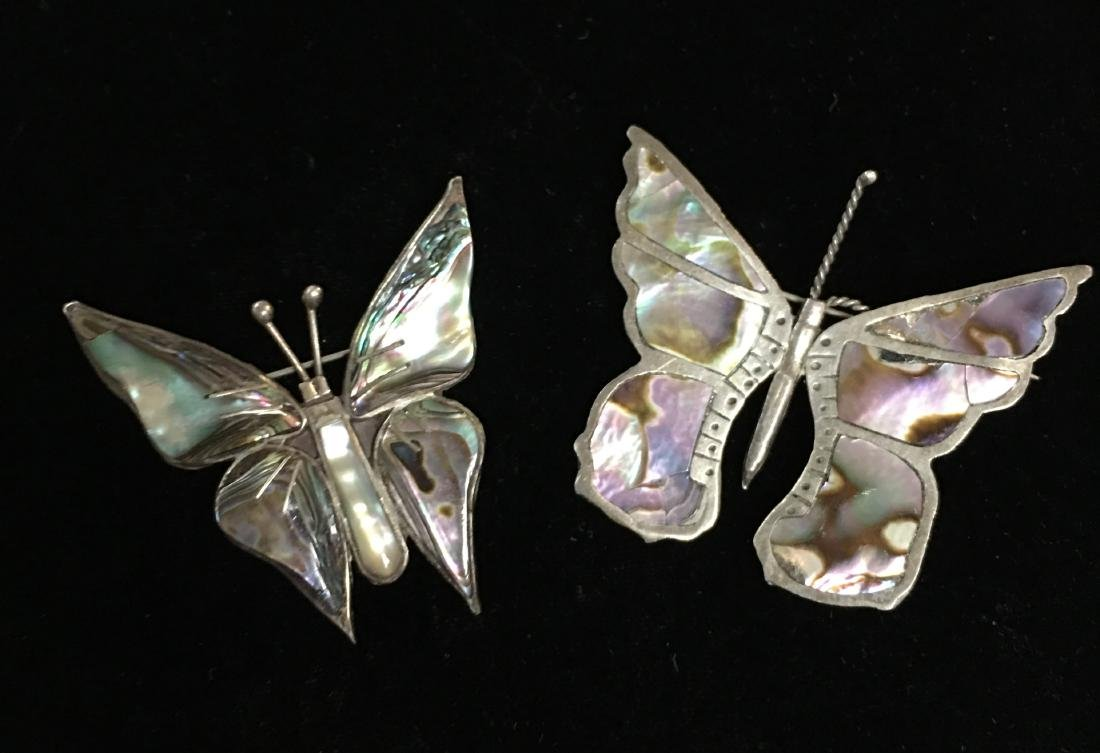 Set of 2 Vintage Mexican Sterling Silver Butterfly