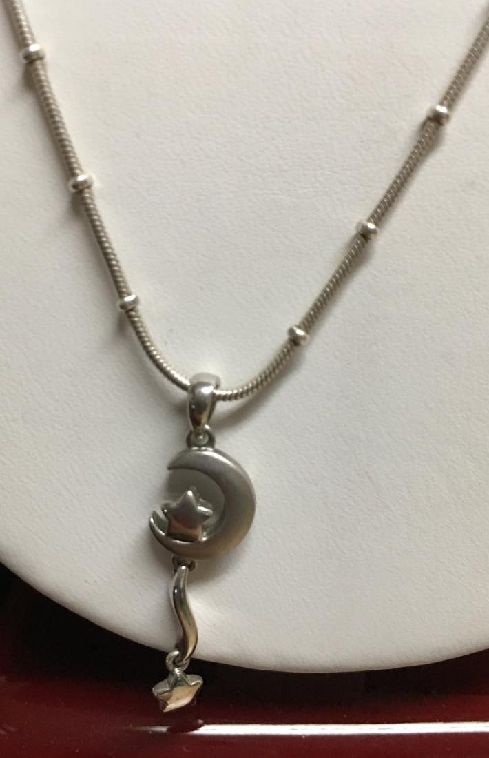 "Sterling Silver  Lady's Pendant with Chain 21"" Italy - 4"