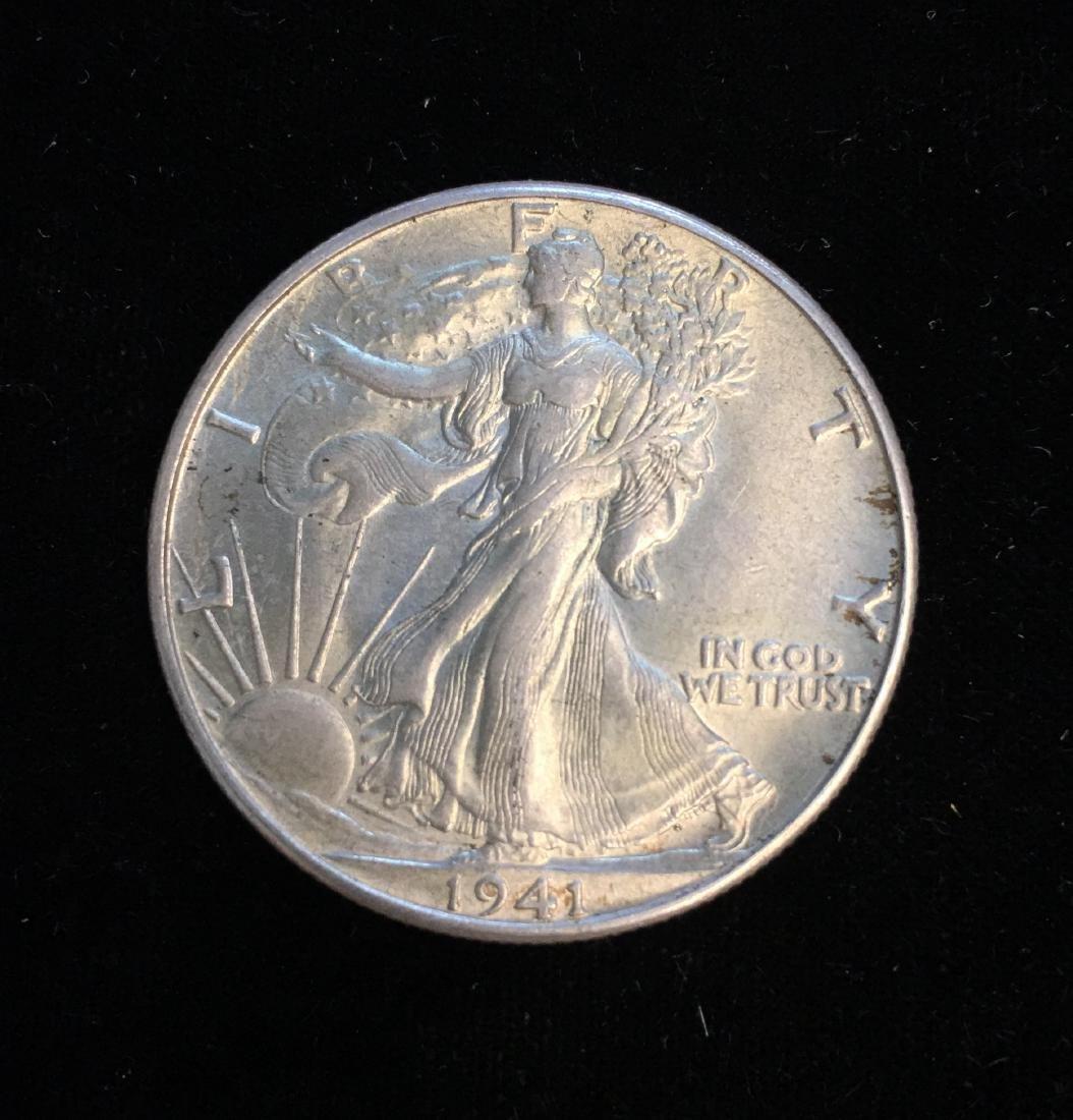 1941-D 50c Walking Liberty Half Dollar UNC White