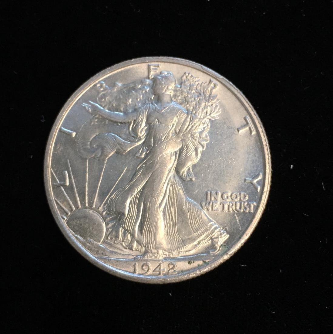 1942-S 50c Walking Liberty Half Dollar UNC White