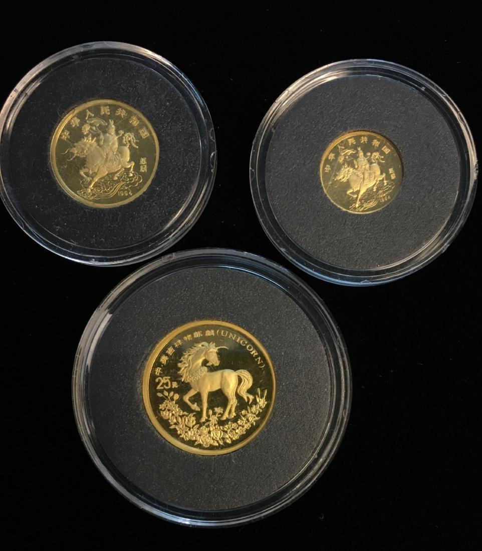 Set of 3 Chinese 1994 Gold Unicorn Proof -  5Yn, 10Yn,