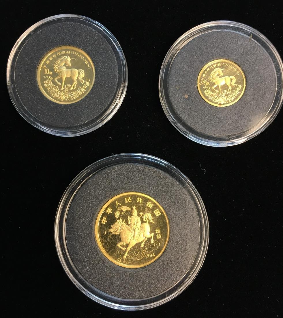 Set of 3 Chinese 1994 Gold Unicorn Proof -  5Yn, 10Yn, - 2