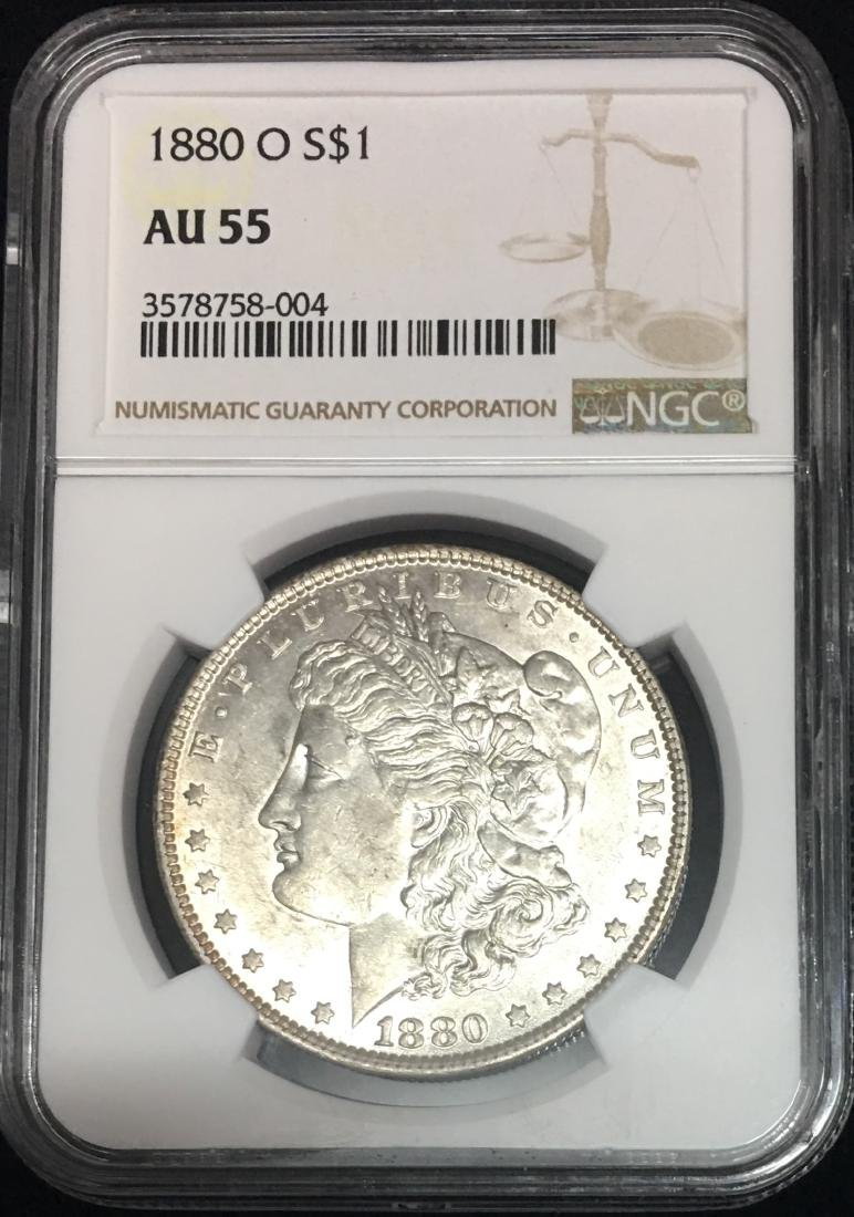 1880-O $1 Morgan Silver Dollar NGC AU55
