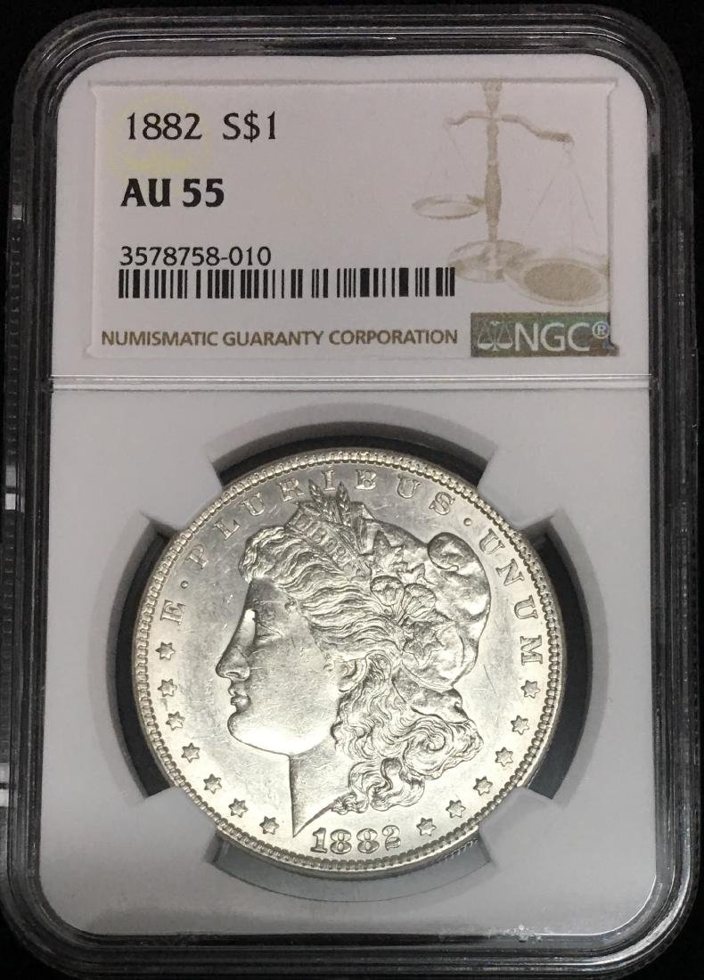 1882-P $1 Morgan Silver Dollar NGC AU55 White