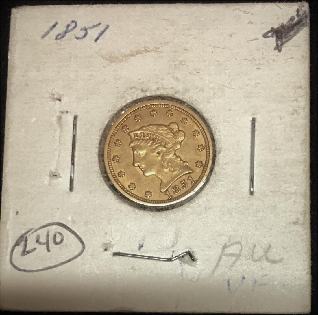 1851 $2.5 Liberty Head Gold Quarter Eagle XF