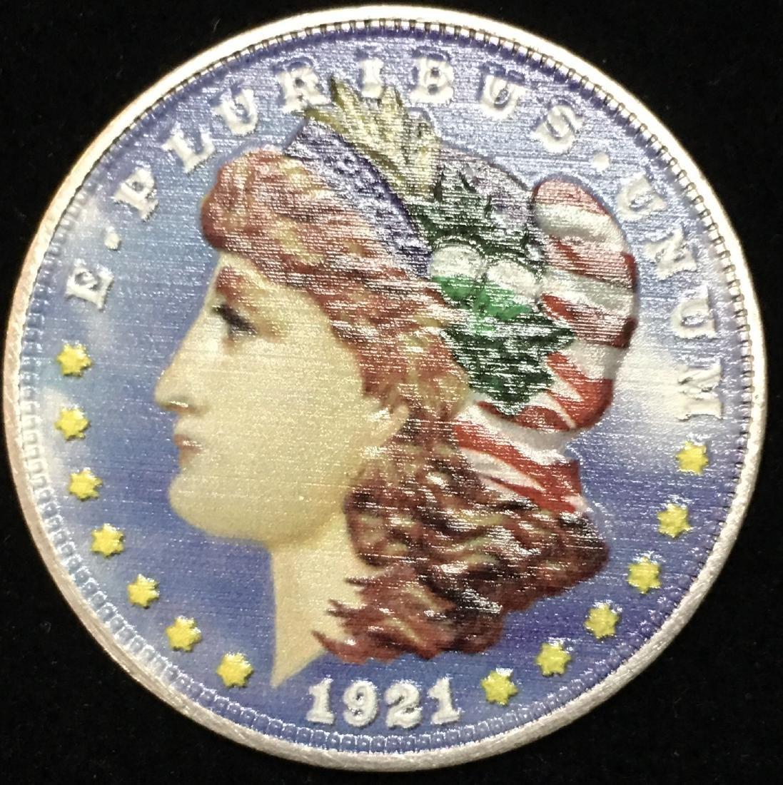 1921 $1 Colorized / Printed Morgan Silver Dollar -