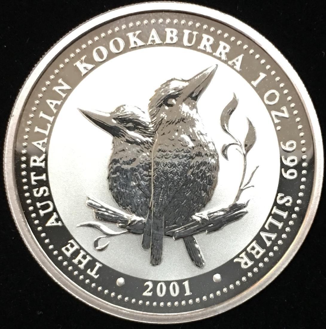 2001 $1 Australia Kookaburra 1 oz .999 Silver GBU - 2