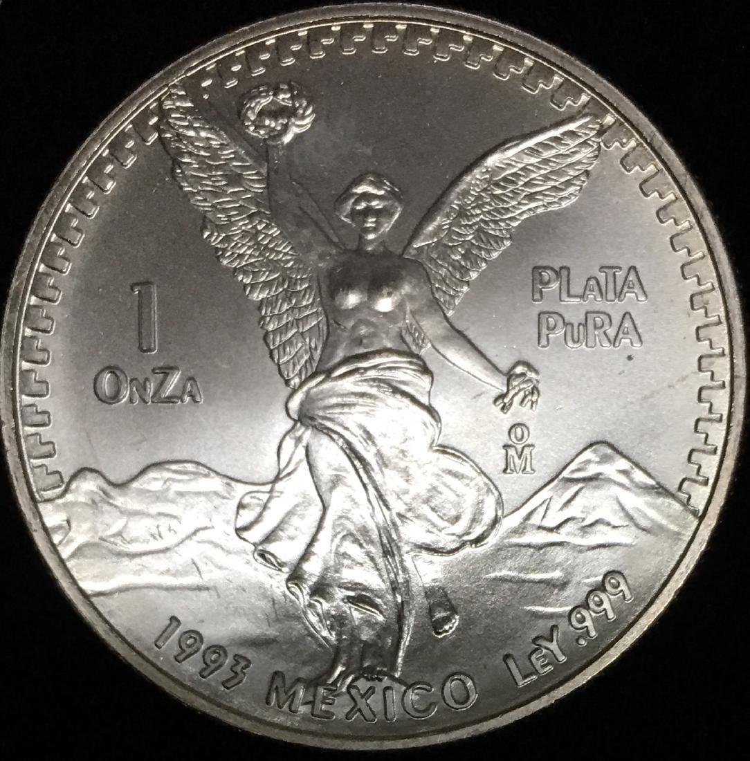 1993 Mexico Libertad Onza 1 oz .999 Silver GBU